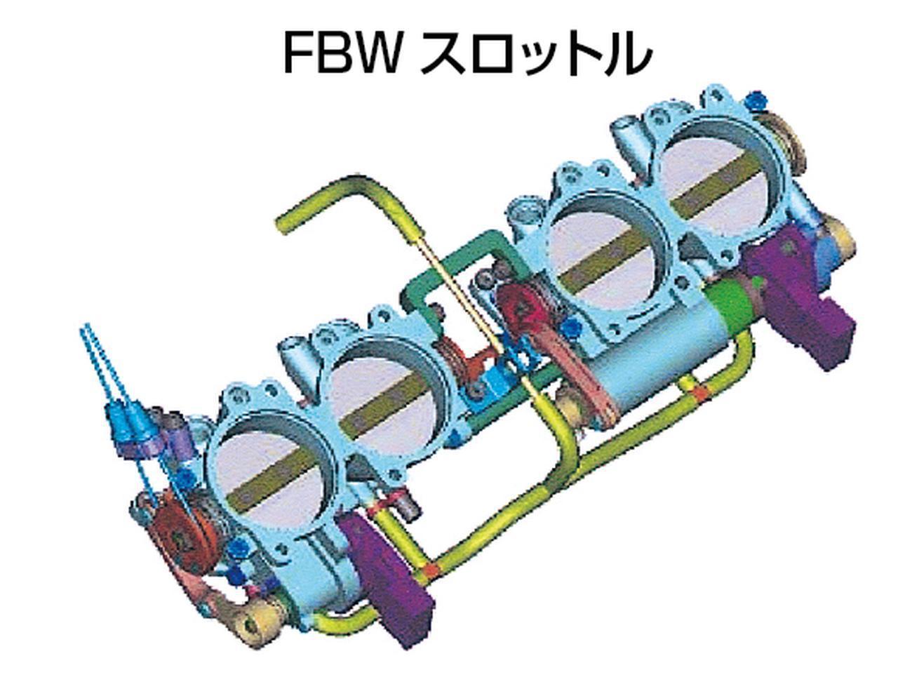 画像: フライバイワイア方式のスロットルバルブ制御は、2006年型になって見直しを受けた。左側2気筒はスロットルグリップによる直接開閉だが、右側2気筒は電子制御でグリップ全開時の開度を規制(1速で最大/5速で最小/6速は規制なし)して低いギアでの出力を抑える他、ブレーキング時の強烈なエンジンブレーキの低減にも利用している。4気筒のうち半分の燃焼圧力を小さくすれば、出力が抑制されるだけでなく、1サイクル(クランク2回転中)のトルクの変化率をより大きくすることができるはずで、これが不等間隔燃焼によるトラクション向上効果をさらに高めているのではないかと想像できる。
