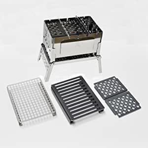 画像: 焚き火をしながら料理もできる製品の一例   笑's コンパクト焚き火グリル B-6君  Amazon