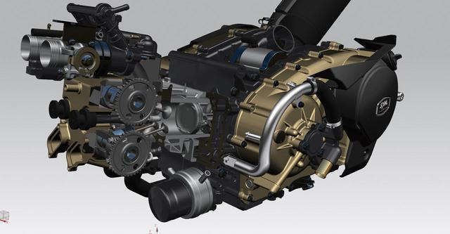 """画像: 「MAXSYM TL」は、SYMでは初となる新設計の""""2気筒エンジン""""を搭載しています。クラストップのパワーを誇る水冷4ストロークDOHC8バルブ並列2気筒465㏄エンジンは、最大出力は40.78ps/6750rpm、最大トルクは42.5Nm/6250rpm を発揮します。"""