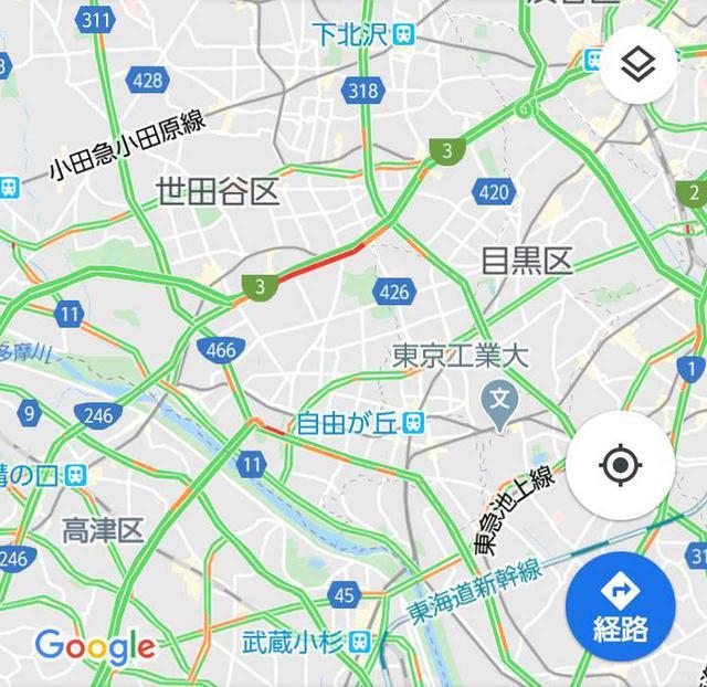 画像: 赤い部分が渋滞している道。