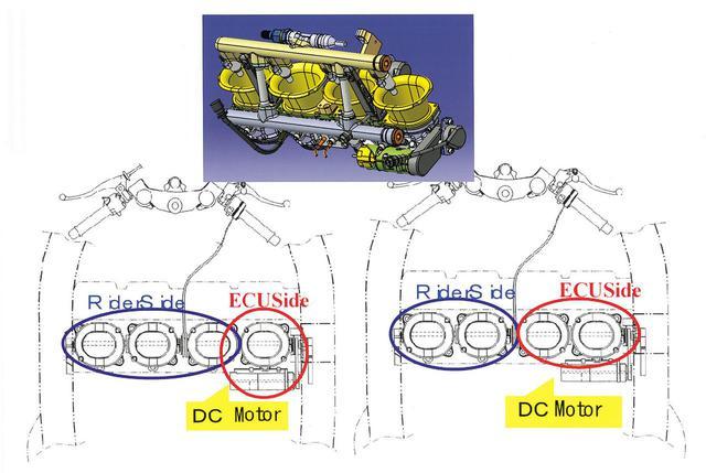 画像: 左が2005モデル、右が2006モデルのZX-RR。カワサキでは、2005年型は1気筒のみ、2006年型は2気筒のみスロットルバルブの電子制御を行い、残る気筒はグリップ連動型であった。