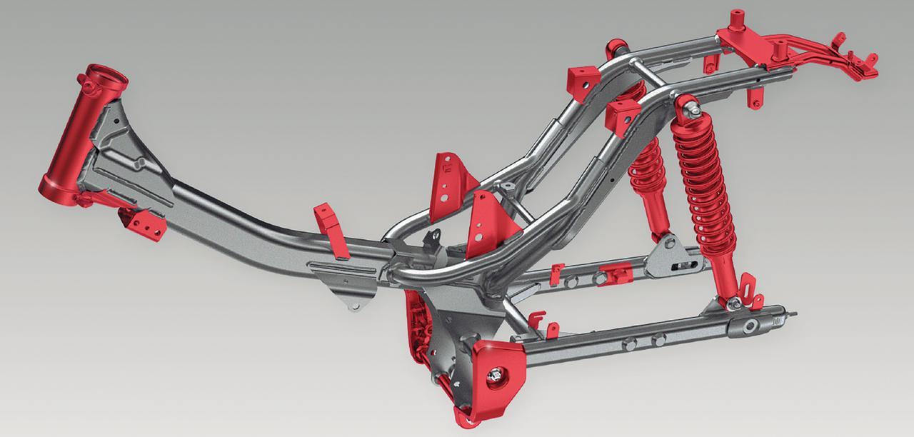 画像: スーパーカブC125用をベースにリアフレームを延長し、ピボットプレートを補強。剛性バランスを見直し、タフに使える仕様とした。イラストの赤い部分がスーパーカブC125からの変更ポイントだ。