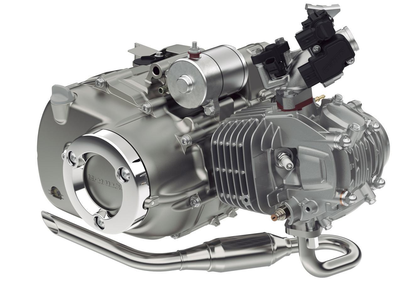 画像: これはスーパーカブC125用のエンジン。ケースカバーのリング状のカバーパーツやエキパイレイアウトなどがCT125とは異なっている。