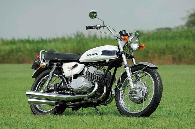 画像: KAWASAKI 500SS MACHIII 総排気量:498cc 発売年:1969年5月 当時の価格:29万9000円
