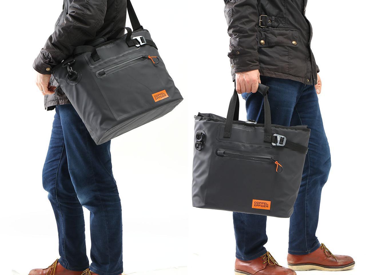 画像: バイク乗りのためのトートバッグ!? サイドバッグにも変身する、便利でおしゃれなドッペルギャンガーの防水バッグが面白い! - webオートバイ