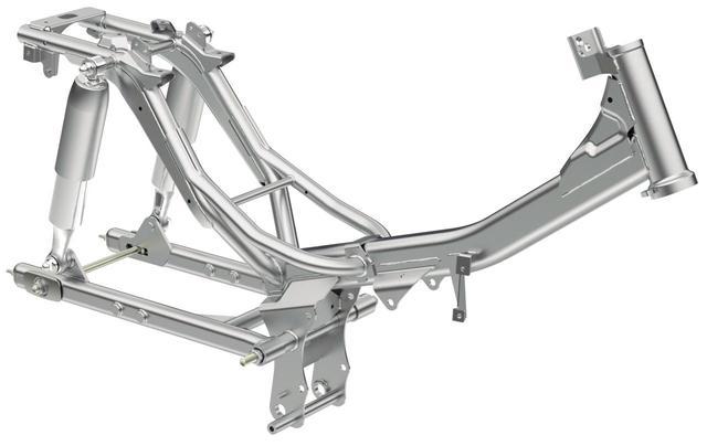 画像: スーパーカブ110用をベースとするフレームは、ステアリングヘッド回りやエンジンハンガーの変更などで剛性を最適化。