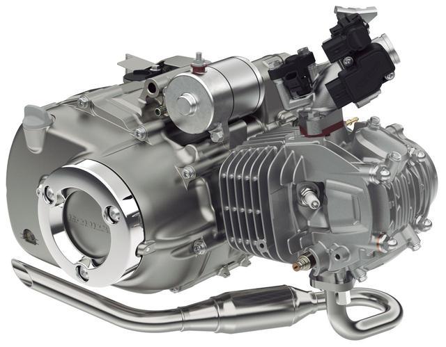 画像: モンキー125と同タイプの124cc空冷単気筒エンジンを搭載。エンジンのノイズ低減やスムーズなシフトフィールを実現している。