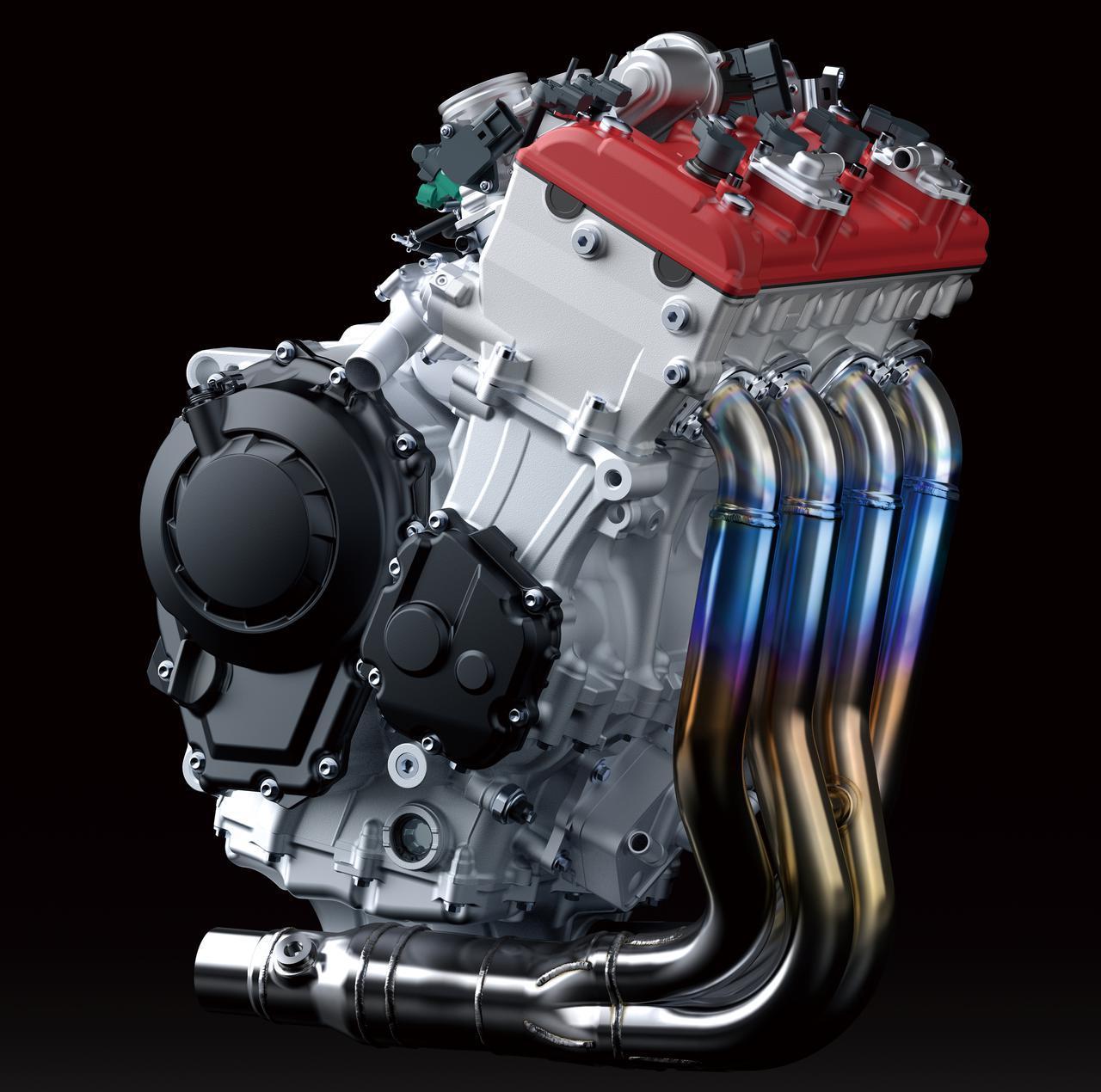 画像: Ninja ZX-10Rのエンジン。最高出力は149kW(203PS)/13,500rpm(ラムエア加圧時:156kW(212PS)/13,500rpm)。