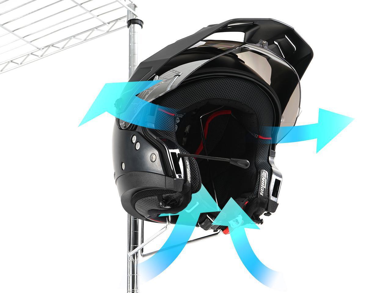 画像: お手持ちのスチールラックに「ヘルメット置き場」をプラス! ドッペルギャンガーの新製品〈ヘルメットハンガー〉が便利そう - webオートバイ