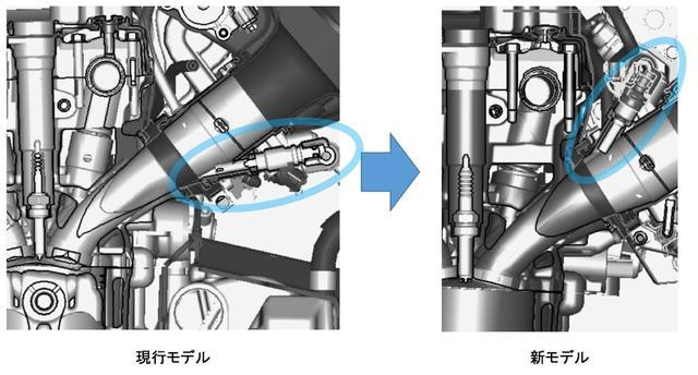 画像: <新作シリンダーヘッド・インジェクターによる進化した燃焼系>燃焼室とスロットルバルブの距離を短縮するため、シリンダーヘッドを新作。さらに新型インジェクターをバルブ傘裏狙いの斜流噴射にて採用します。