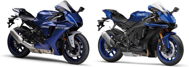 画像: (左)2020年モデル、(右)2019年モデル 全体のスタイリングは変わらず、ヘッドライト回りのフェイスデザインを一新。兄弟モデルYZF‐R6やR25/R3とイメージを統一、ヘッドライトをコンパクトに、アッパーカウルのゼッケンスペースを強調した印象。