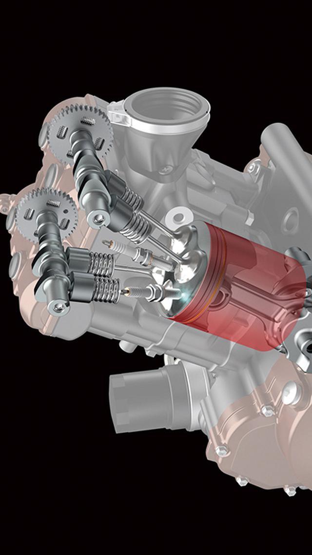 画像: 1気筒ごとに2本のイリジウムプラグを採用するデュアルスパークシステムを採用。燃焼効率を高め、パワーと環境性能を両立。