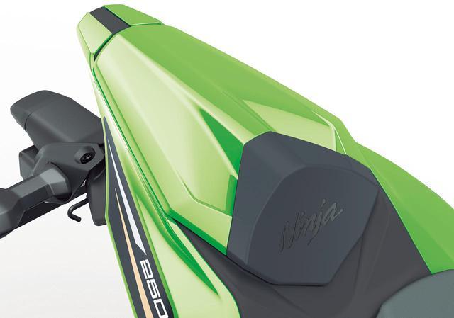 画像: シングルシートカバー よりレーシーなルックスになるシングルシートカバー。ストッパー部分には「Ninja」ロゴもあしらわれる。