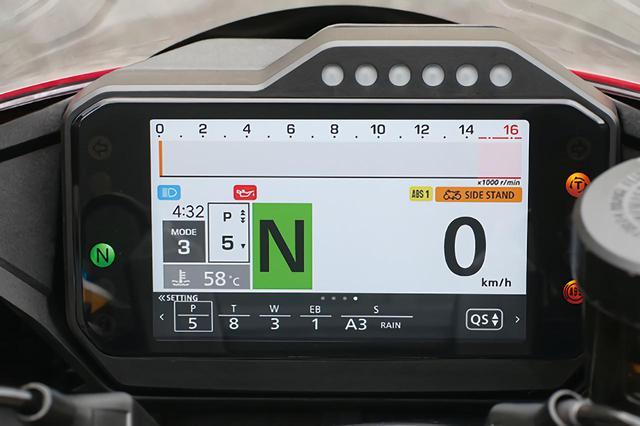 画像: バーグラフ式タコメーターを直線レイアウトとした仕様。サーキット向き。