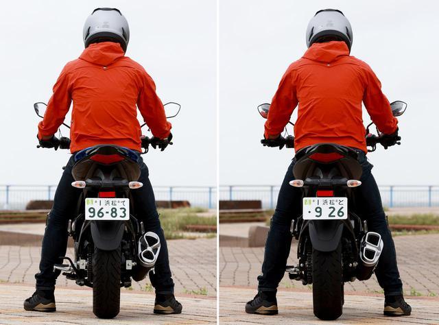 画像: (左)ジクサー150|(右)ジクサー250 ライダーの身長・体重:175cm・75kg
