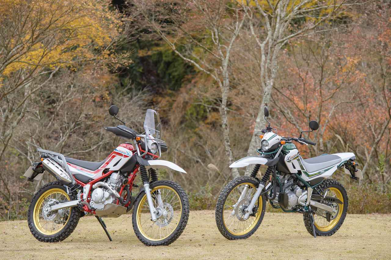 画像: (左)ツーリングセロー|(右)セロー250ファイナルエディション 税込58万8,500円 写真:柴田直行