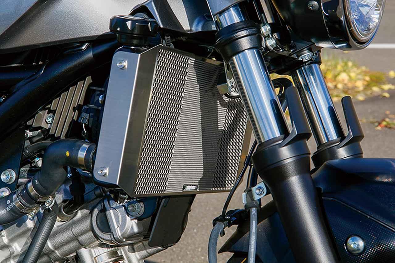 画像: ラジエーターコアガードはエッチングファクトリー製ステンレスで、現状シルバーのところを今後セラコートでブラック処理予定という。