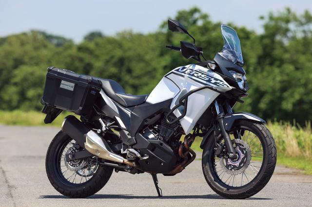 画像: Kawasaki VERSYS-X 250 TOURER エンジン形式:水冷4ストDOHC4バルブ並列2気筒/248cc 最高出力:24kW(33PS)/11500rpm 最大トルク:21N・m(2.1kgf・m)/10000rpm シート高:815mm 車両重量:175kg メーカー希望小売価格:税込64万1300円