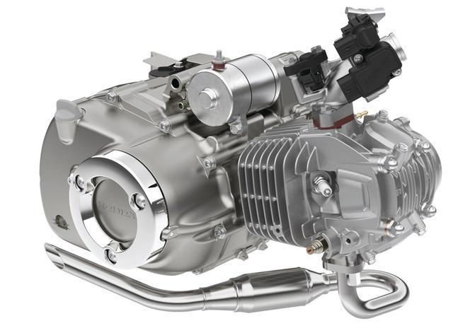 画像: 空冷OHC2バルブエンジンは、専用開発の吸排気系との組み合わせで中低速のトルクを増強。積載時の走行や登坂に強い設定とした。(写真はC125用)
