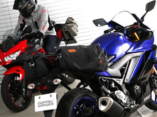 画像2: 250ccスポーツバイクにぴったりな防水バッグ! 雨や汚れを気にせず使えるドッペルギャンガー「ターポリン サイドバッグ 25」