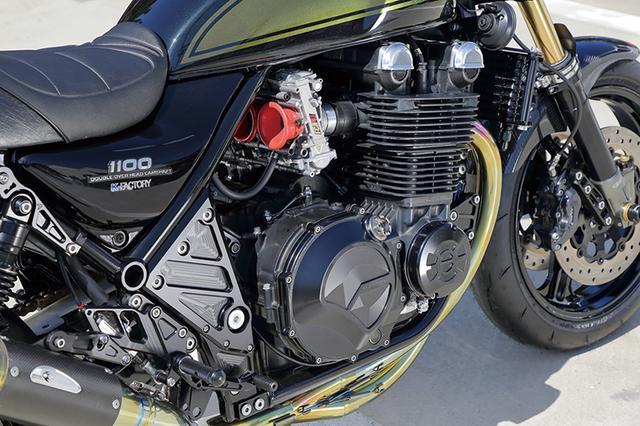 画像: ノーマルの角型から丸型にすることでエンジンの印象を変える丸型ヘッドカバーもケイファクトリー製。キャブレターはFCRφ41mmをチョイスした。