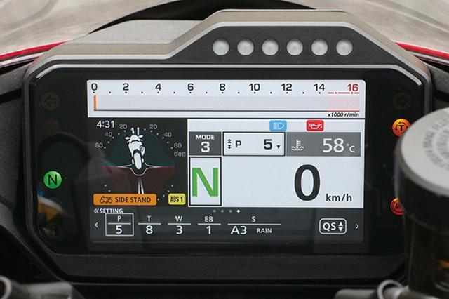 画像: メーター表示スタイルは5種類。バーグラフ式タコメーターを直線レイアウトとした仕様はサーキット向き。IMUからの車両情報をもとにバンク角などの状況も図で表示できる。