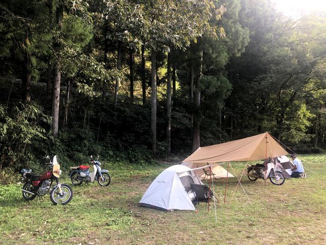 画像: 設営完了。キャンプツーリングって感じでしょ。