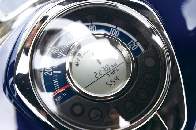 画像: スーパーカブC125のメーター。燃料満タン(3.7L)から223.0㎞到達!