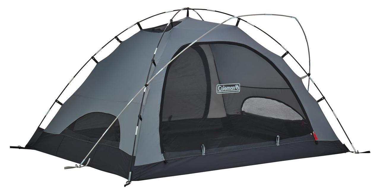 画像: 構造は一般的なドームテントに快適な前室を確保するためポールが1本加わります。入口は2カ所で通気性・開放感も抜群。