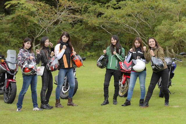 画像: 左から梅本まどか、Ruriko、大関さおり(オートバイ女子部)、ときひろみ、山口ミカ、下川原リサ(biko)