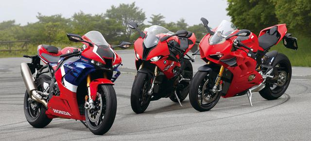 画像: (左)ホンダ「CBR1000RR-R FIREBLADE SP」 総排気量:999cc エンジン形式:水冷4ストDOHC4バルブ並列4気筒 最高出力:160kW(218PS)/14,500rpm 最大トルク:113N・m(11.5kgf・m)/12,500rpm 税込価格:278万3000円 (中央)BMW「S 1000 RR」 総排気量:999cc エンジン形式:水冷4ストDOHC4バルブV型4気筒 最高出力:152W(207PS)/13,500rpm 最大トルク:113N・m(11.5kgf・m)/11,000rpm 税込価格:231万3000円~283万4000円 (右)ドゥカティ「パニガーレ V4 S」 総排気量:1103cc エンジン形式:水冷4ストDOHC4バルブV型4気筒 最高出力:157.5kW(214PS)/13,000rpm 最大トルク:124N・m(12.6kgf・m)/10,000rpm 税込価格:344万2000円