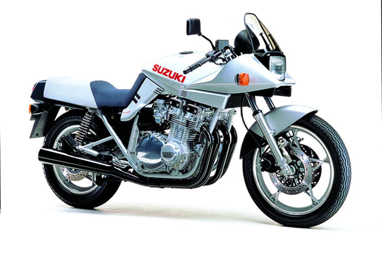 画像: 最初の市販モデル。エンジンはGSX1100E用ベースの1074cc空冷直4、最高出力111PSを発揮して性能面でも高 いレベルを誇った。
