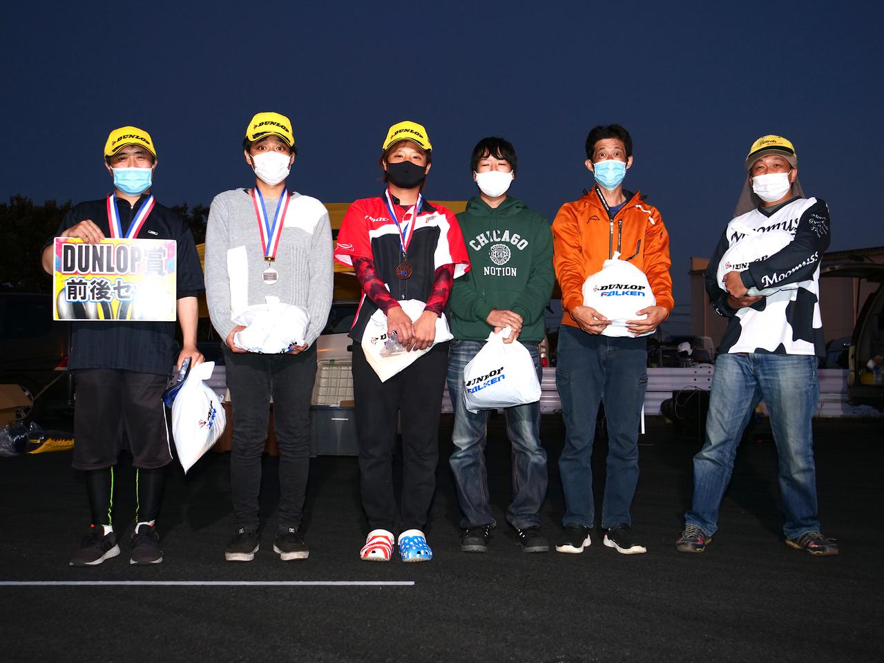 画像: 左から1位・井川洋一選手、2位・江口 柊選手、3位・山田史雄選手、4位・松下 良選手、5位・吉田篤司選手、6位・伊原英樹選手