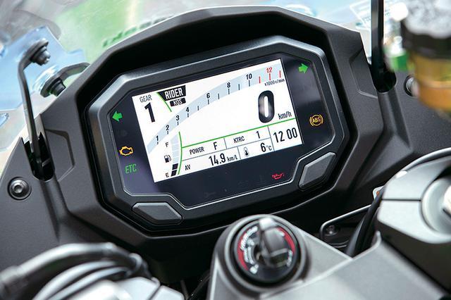 画像: メーターはカラー液晶となり表示も選択可能。スマートフォンとブルートゥースで接続され、走行ログを記録、閲覧できる。