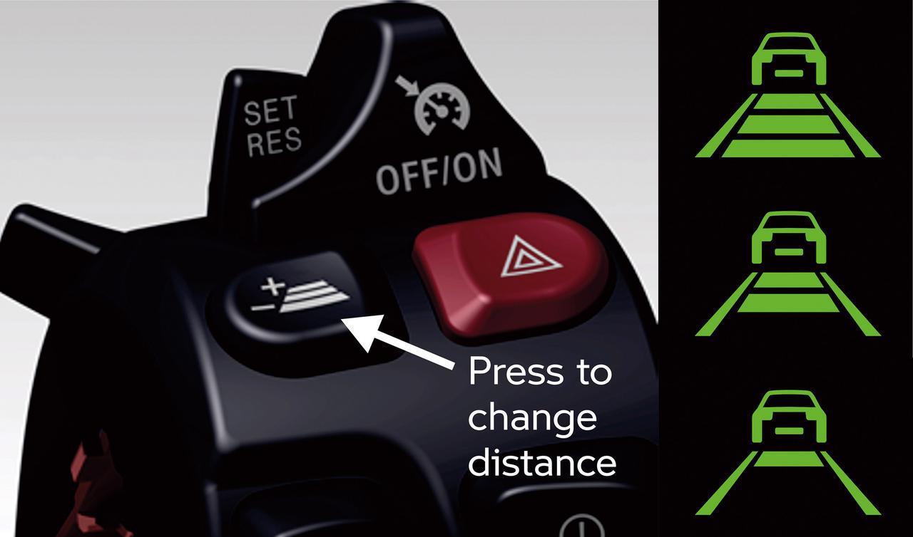 画像: クルーズコントロールスイッチの横に備わるのは車間距離調整ボタン。これで前車との距離を好みに応じた3段階に調節できる。