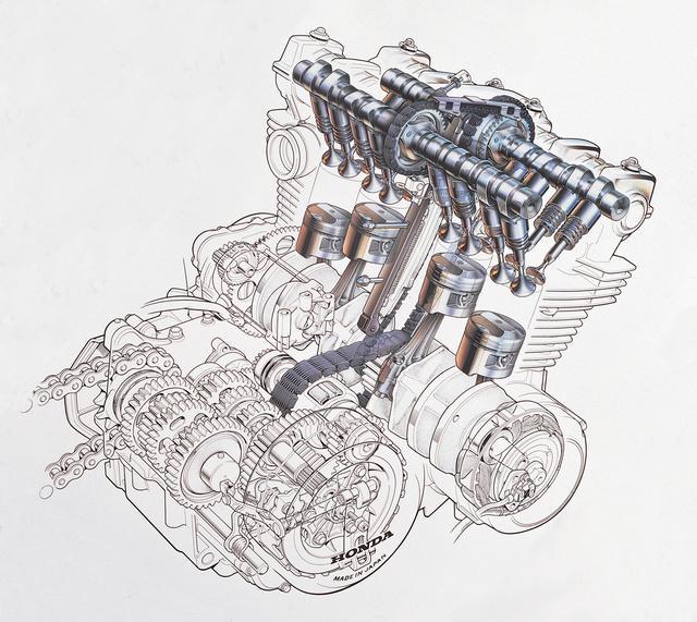 画像: カムチェーンはクランクと排気側カムだけを連結し、別チェーンで吸排気カムを連結する7の字がけ。