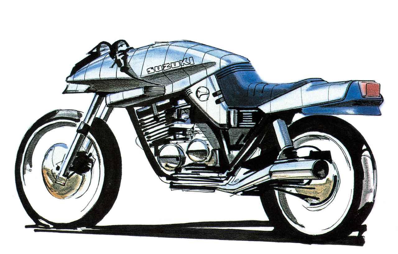 画像: ターゲットデザインによるカタナのスケッチ。実際にモックアップモデルを試作する際のスケッチで、後に前方視界やシート段差など、機能面が修正された。「デザインの邪魔はしない、バイクの機能は壊さない」がスズキ との約束だった。