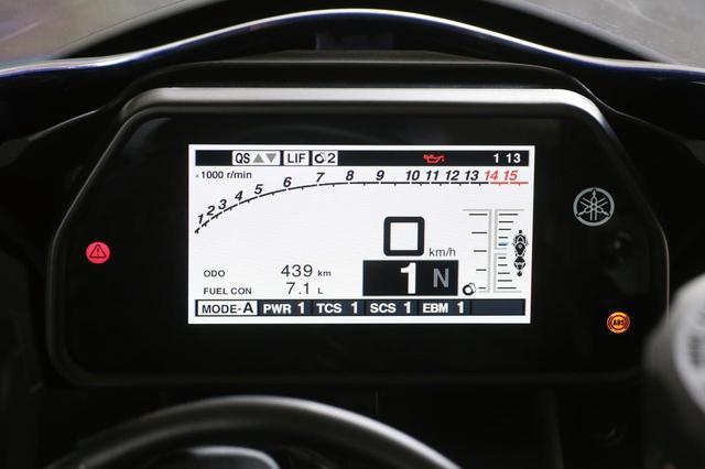 画像: フルカラーの4.2インチTFTメーターは表示項目も多彩。右の図は走行中の荷重状態をリアルタイム表示するもの。