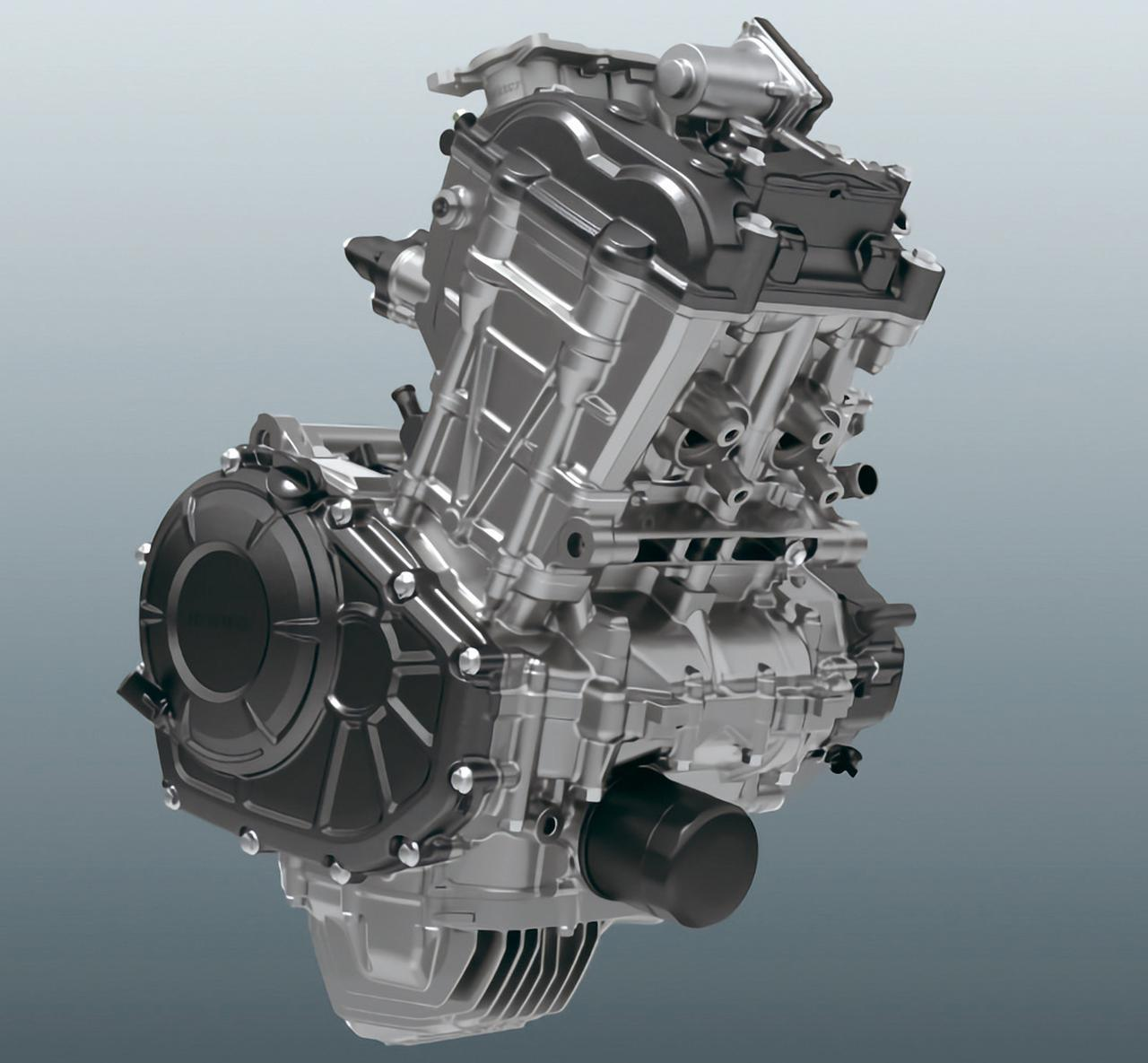 画像: 新型CBR250RRに搭載されている2気筒エンジン。圧縮比をアップ、エンジン内のポンピングロスを低減したほか、浸炭コンロッドの採用やバルブスプリングも見直し、3PSアップの41PSを達成した。