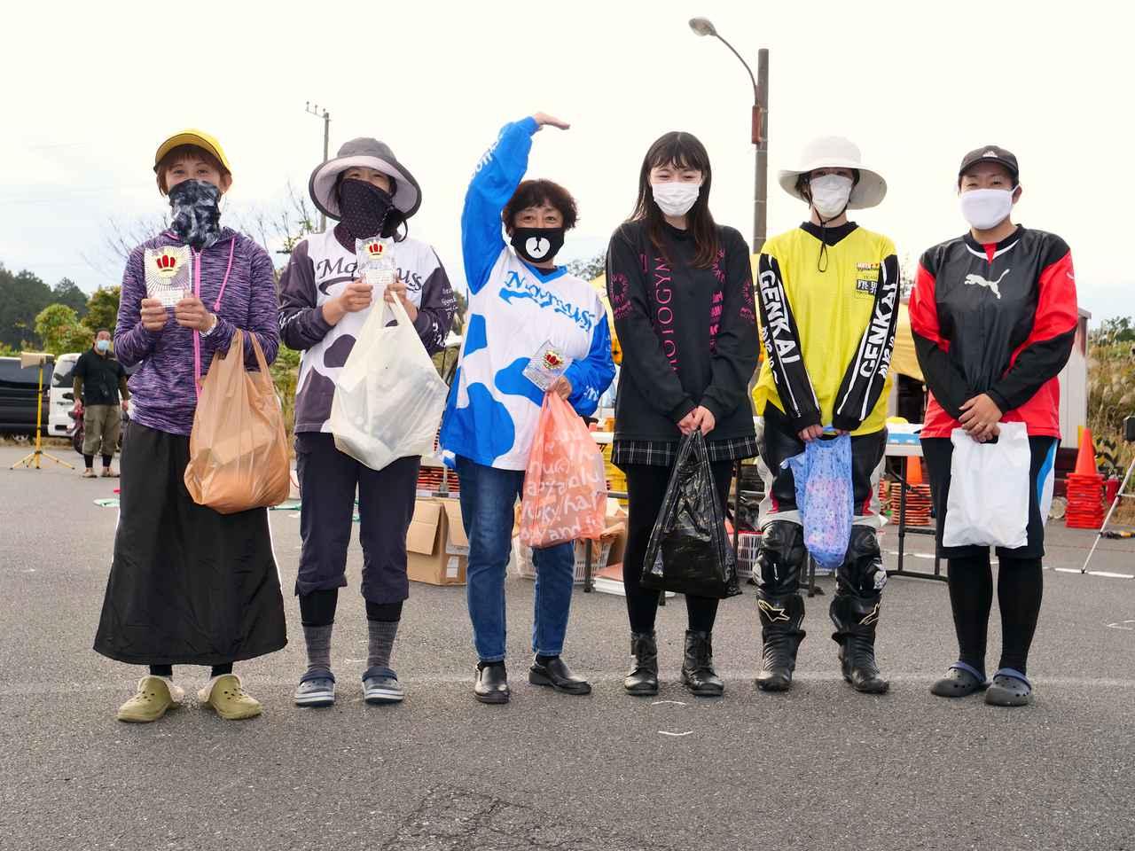 画像: NL級入賞者 左から1位・前島恵利香選手、2位・土橋朋子選手、3位・加瀬京見選手、4位・小森彩可選手、5位・山本果菜選手、6位・双木幸佳選手