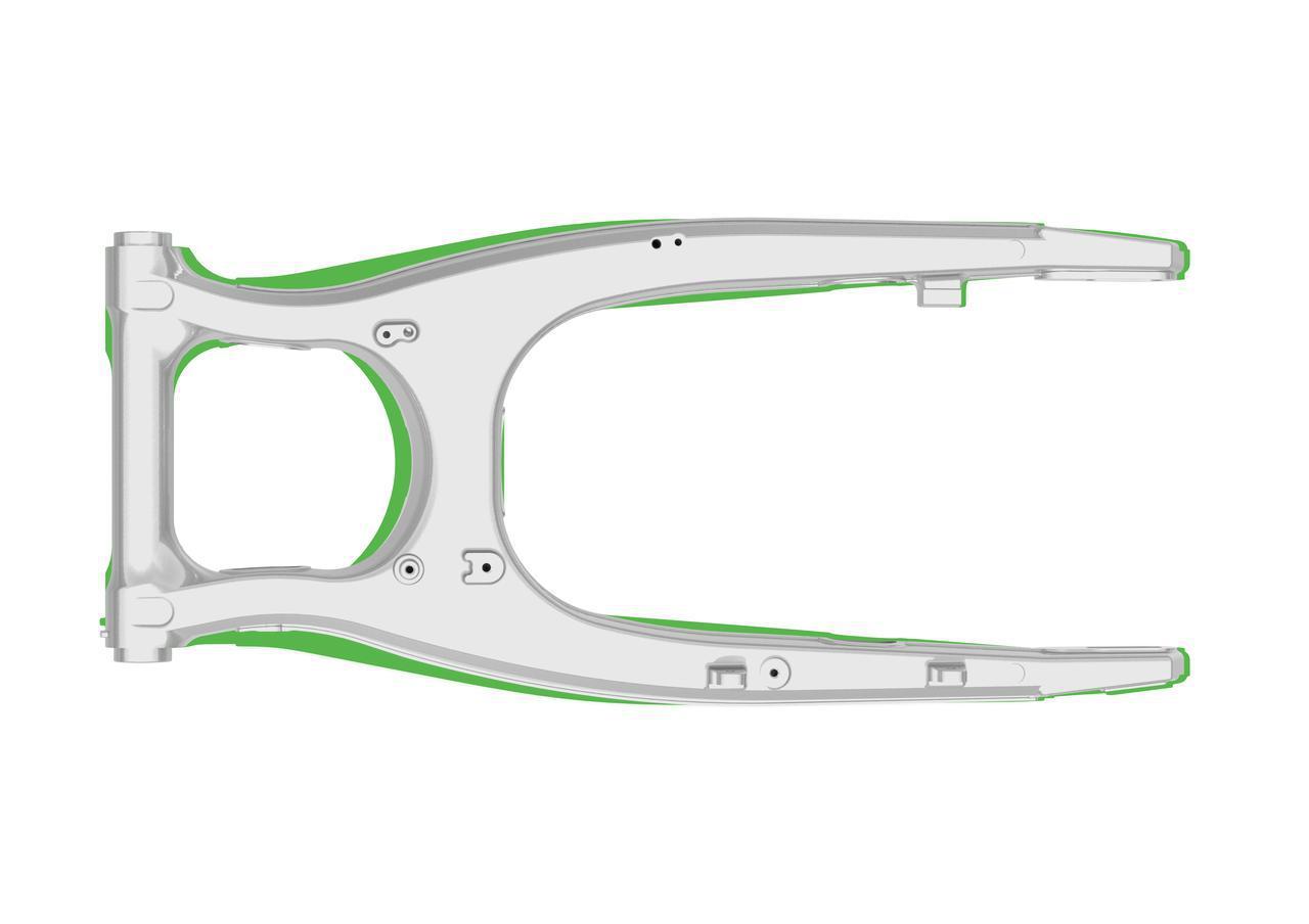 画像: 緑の部分が従来型。新型はスイングアームのたわみを積極利用して、しなやかさを向上させています。