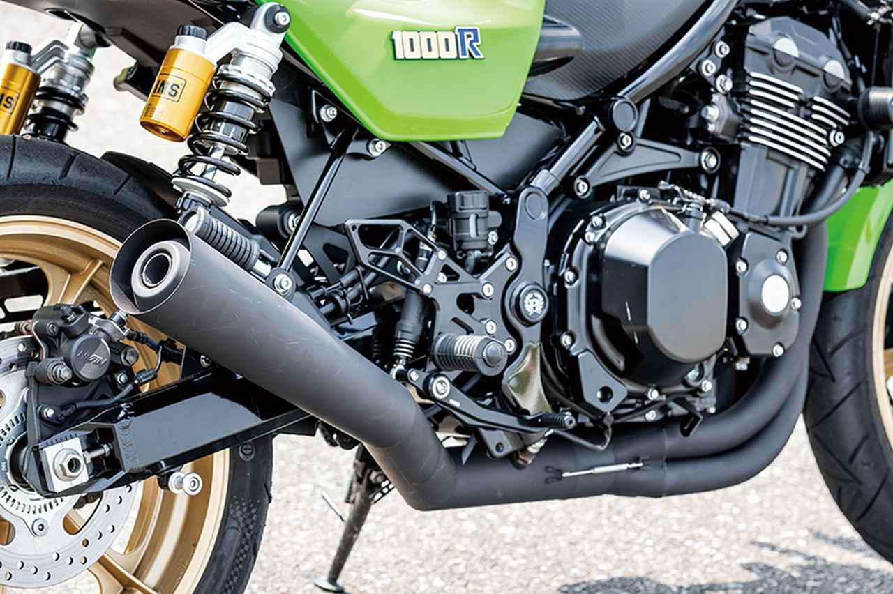 画像: ドレミコレクションオリジナルのZ900 RS専用メガホンマフラーでZ1000Rイメージを強調する。
