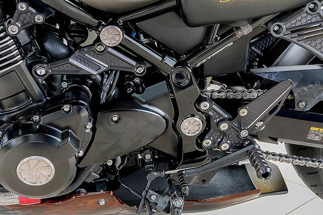 画像: フレーム前部と中央、スイングアームピボット、クランクケース左右カバー中央には、「ARCHI スピンホイルプラグシリーズ」によるアルミ削り出しのホールプラグを用意する。フレーム用プラグには脱落防止のOリングも付属している。