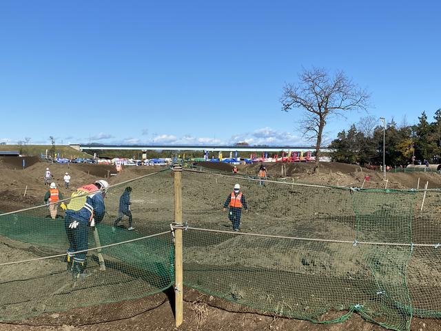 画像: 左側手前の方は木を埋め直しています。