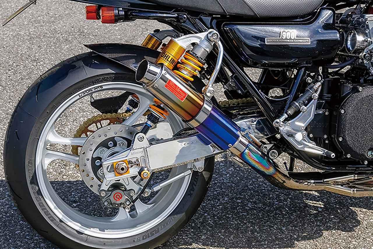 画像: リヤブレーキはブレンボ2ピストンキャリパーをMccoyサポートでマウントする。フルチタンの排気系はZに最適化されたウィンマッコイだ。