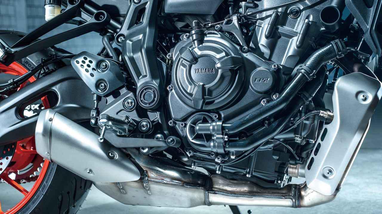 画像: CP2エンジンは、2into1のエキパイがマフラーと一体型仕様に。ECUやFIセッティングも変更しレスポンス特性が向上した。