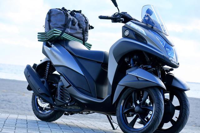 画像: 【積載インプレ】ヤマハ「トリシティ155」/リアシートに荷物を積むのは意外と難しい? キャンプ道具の積載方法を紹介 - webオートバイ