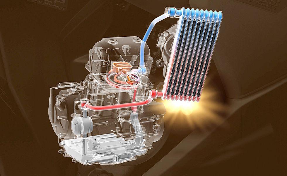 画像: 完全新設計の油冷単気筒エンジンは、軽く小さく、環境性能が高くなるよう設計された。燃焼室まわりに潤滑とは別のオイル通路を設けて冷却している。