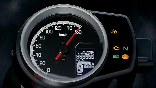 画像: アナログ式スピードメーターは160㎞/hスケール。右下に燃料計や燃費計も備えた反転表示の液晶モニターも備える。