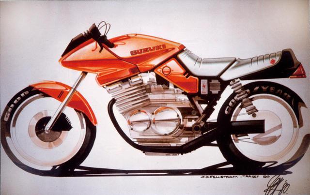 画像: 1979年 デザインスケッチ デザイナーのフェルストローム氏が描いた初期のカタナのレンダリング。ROSSO RAPTORの影響か、この時点でのボディカラーもレッドだ。
